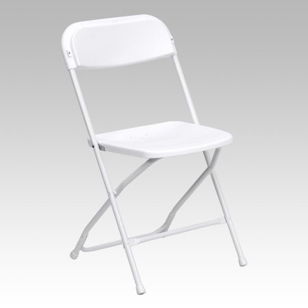 White Plastic Folding Chairs with Setup