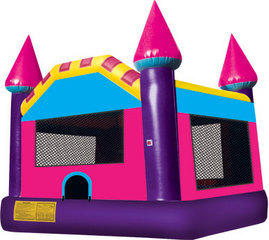 Large Pink Castle Moonwalk With Basketball Goal