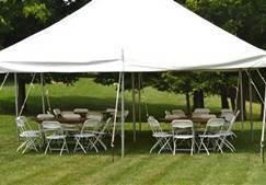 Tent w/ 5 -5ft Round Banquet Tables & 40 Brown Chairs Package
