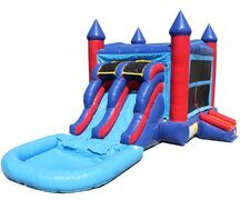 Red & Blue Bounce House With Double Lane Slide
