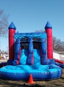Red & Blue Bounce House With Double Lane Waterslide