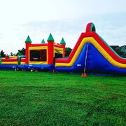 Large Obstacle Course With Water Slide
