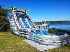 (b) 24ft Double Lane Water Slide w/ POOL