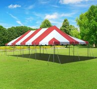 20 x 40 Pole Tent - Red and White