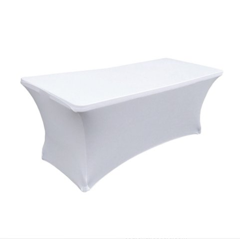 6' Folding Table White Spandex Cover