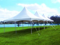 High Peak 60' X 20' Tent - (Grass) Installed with Rain Gutters