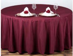 Round Burgandy Table Linens