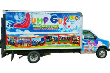 Jump Guy Party Rentals Delivery Truck