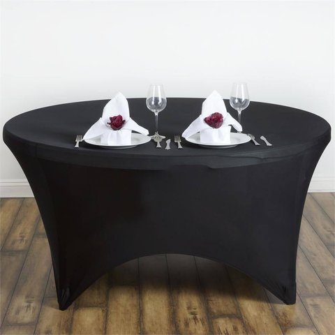 Black Spandex Round Tablecloths