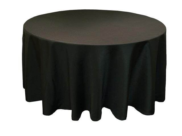 014 Black Round Tablecloth 108 inches