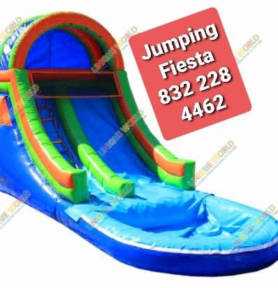 009 Water Slide single lane with Pool Red Blue 22 feet tall