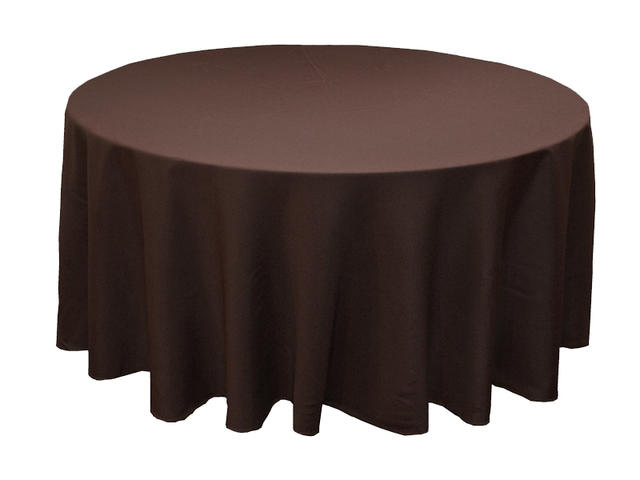 Chocolate brown round tablecloth 120 in.