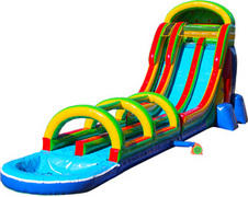 002 Rainbow Double Lane Water Slide with slip and slide with pool brown, blue, yellow and red