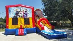 013 Modular Combo water slide brown & blue with pool (Banners available of Frozen, Princess, Super Heros, Mickey & Minnie, Mickey Mouse Clubhouse)