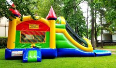 002 Combo Castle with Slide Green & Blue & Purple without the pool and no banners