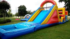 027 New Obstacle Course with Water Slide and pool