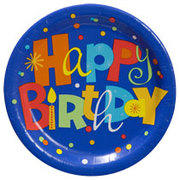 "Happy birthday plates 9"" packages of 20"