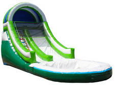 010 Water Slide single lane with Pool Green White 22 feet tall