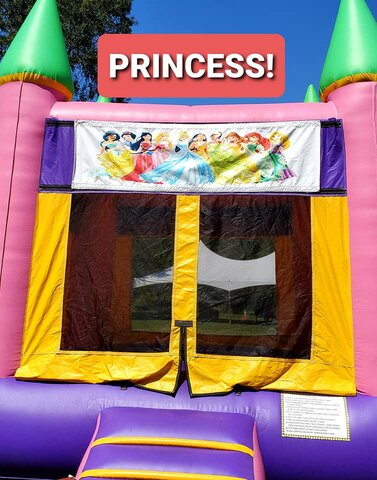 003 Pink & Purple Bounce House with Banners (Princess, Frozen, Sophia, Hello Kitty, Dora, Paw Patrol, Trolls, Shopkins, Emojis, Alice, Little Pony, Strawberry)