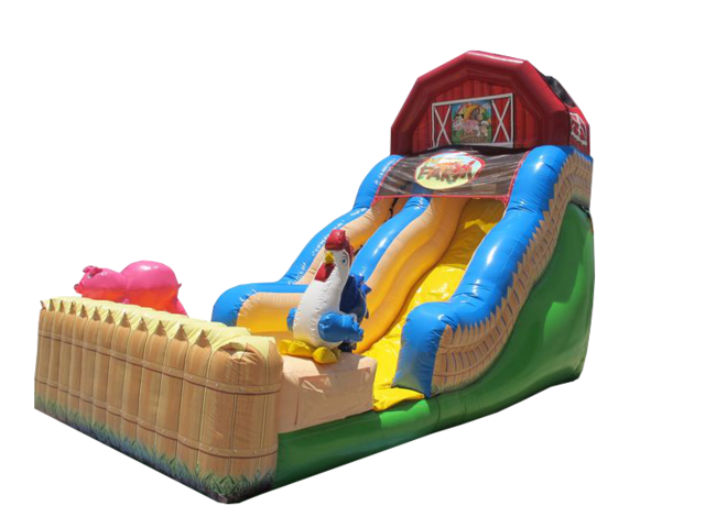 18' Funny Farm Inflatable Slide (DRY)