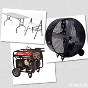 Tents, Tables, Chairs, Fans, Generators And More