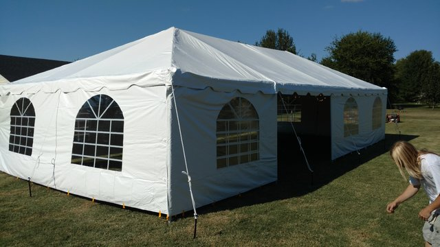 20x40 FRAME TENT WITH WINDOW SIDEWALLS ON CONCRETE SURFACE (WEIGHTED)
