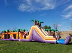 90 Ft Tropical Obstacle Course Challenge w/ pool (Item 705)