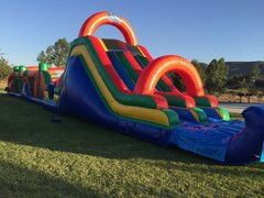 90 Ft Rainbow Obstacle Challenge W/Pool (Item 729)