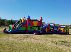 75 Ft Wacky Obstacle Course Challenge W/Pool  (Item 702) CHOOSE YOUR THEME!
