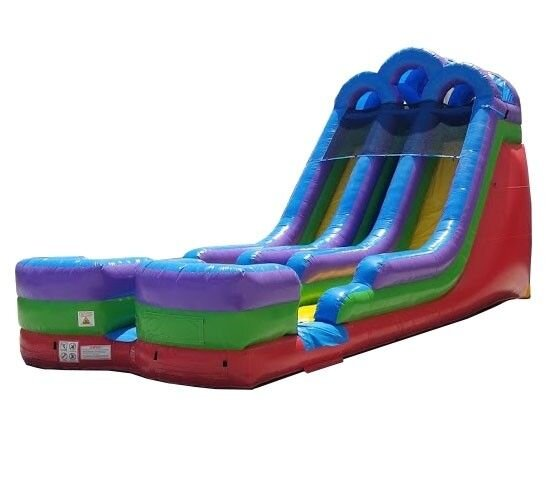 Water Slide 20 ft Dual Lane with Inflatable Landing Zone