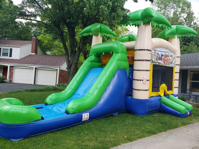 Tropical Bounce House Slide Combo (wet)