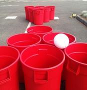 Trash can beer pong