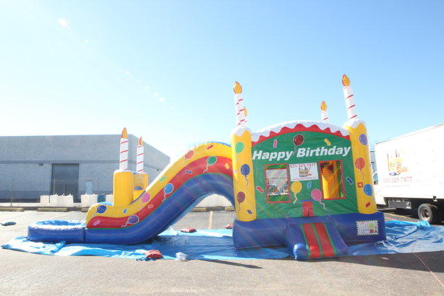 Birthday Cake Bouncer & Water slide With POOl #WS18