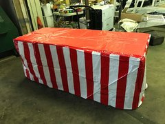 Red and White striped vinyl table covers