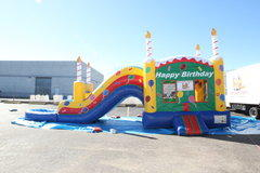 Birthday Cake Bouncer And WATER SLIDE With Pool (NEW)