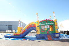 (40)  Birthday Cake Bouncer & Water slide With POOl #WS41
