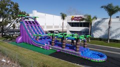 (1)TRIPLE  LANES PURPLE MONSTER Water Slide with pool #WS35