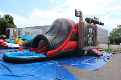 (42)  Pirate Party Bouncer & DOUBLE Lane Waterslide with POOL! #WS11