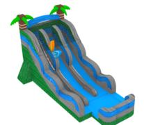 (22) Tropical Surfboard Double Lane Water Slide with Pool # WS53