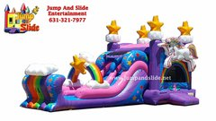 (1) Unicorn Party Dual lane  DRY slide & bouncer combo