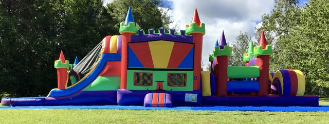 pool waterslide obstacle castle course royal 50ft
