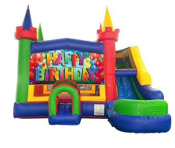 happy birthday theme bounce house with slide rental