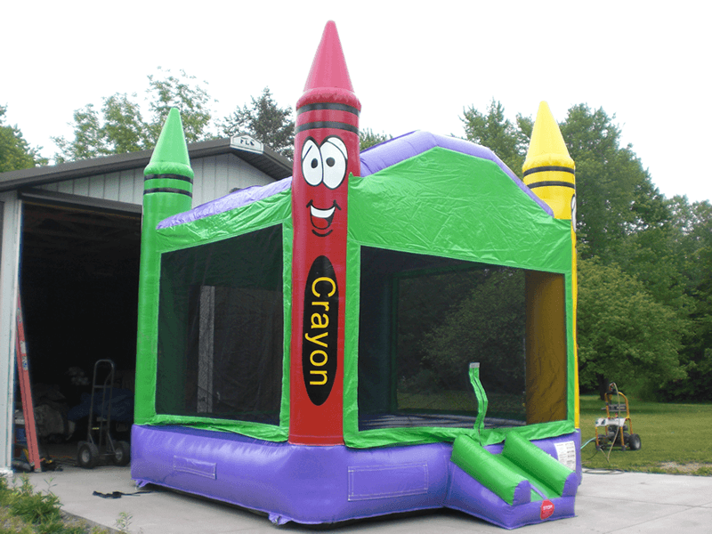Colorful crayon bounce house