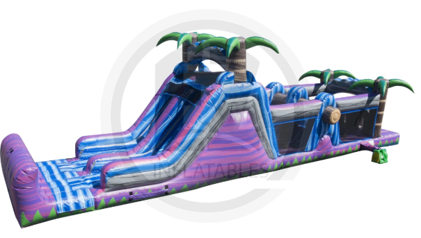 47' Purple Jungle Obstacle Course and Water Slide
