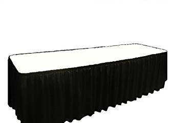 Plastic Table Cover & Skirt Combo - 6' Banquet Black
