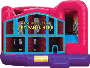 Pink Premiere 5-in-1 Extra Large Combination Bounce, Slide and Play Ride