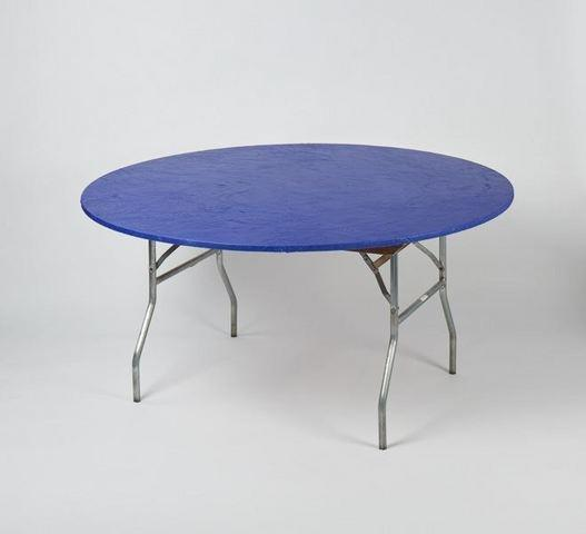 z. Plastic Fitted Table Covers - 60 Inch Round Blue