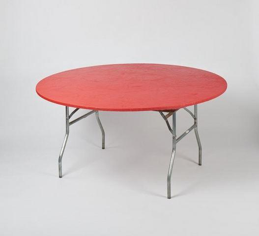 Plastic Fitted Table Covers - 60 Inch Round Red
