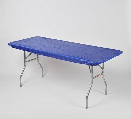 z. Plastic Fitted Table Covers - 6' Banquet Blue