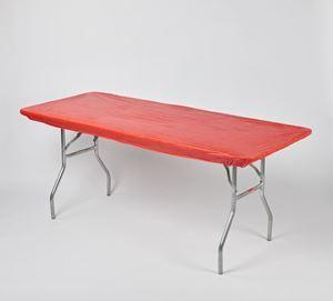 Plastic Fitted Table Covers - 6' Banquet Red